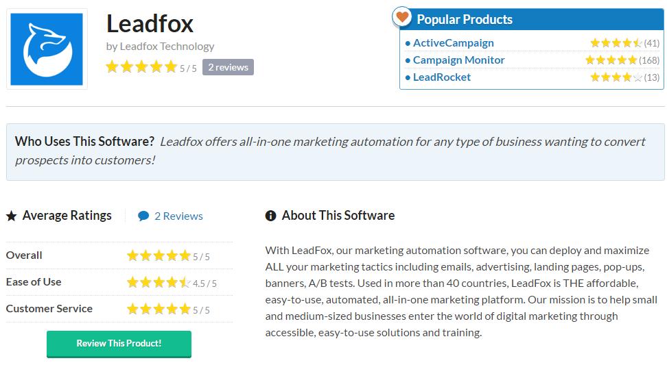 leadfox capterra software email marketing