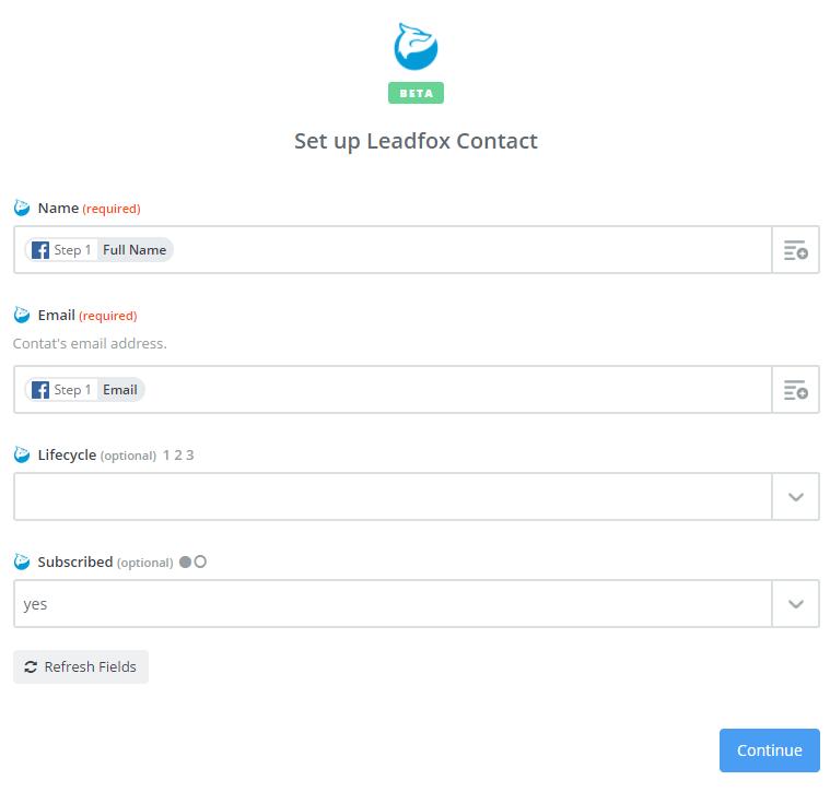 Facebook Zapier LeadFox